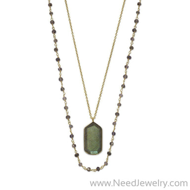 14 Karat Gold Plated Double Strand Iolite and Labradorite Necklace-Necklaces-Needjewelry.com