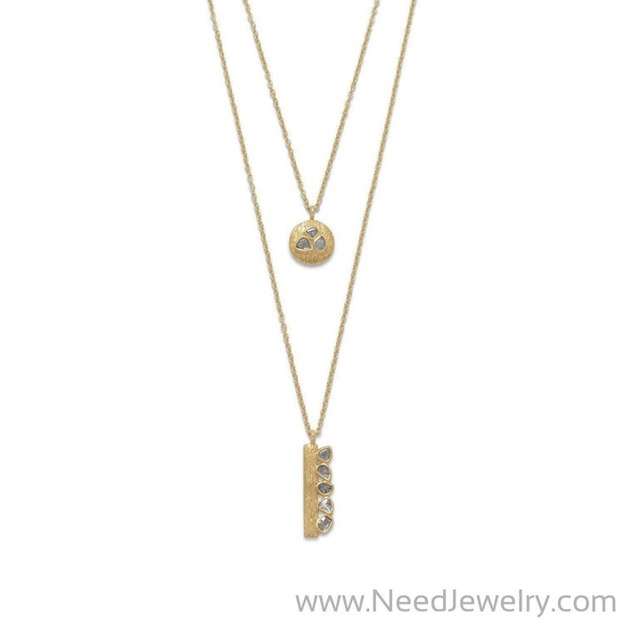 14 Karat Gold Plated Double Strand Polki Diamond Necklace-Necklaces-Needjewelry.com