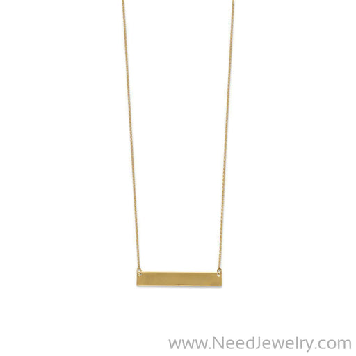 14 Karat Gold Plated Engravable Bar Necklace-Necklaces-Needjewelry.com