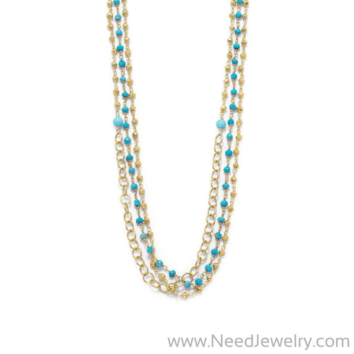 Triple Strand 14 Karat Gold Plated Multistone Necklace-Necklaces-Needjewelry.com