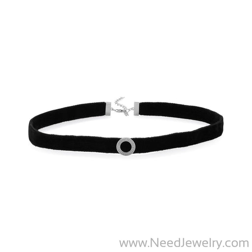 Rhodium Plated CZ Circle Black Velvet Choker Necklace-Necklaces-Needjewelry.com
