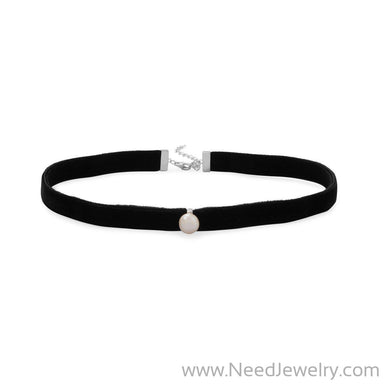 Black Velvet Choker Necklace with Cultured Freshwater Pearl-Necklaces-Needjewelry.com