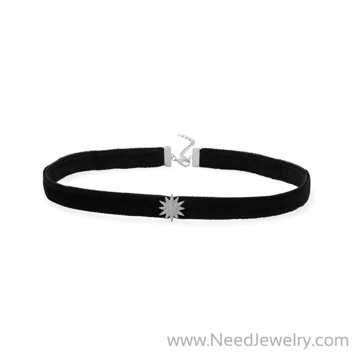 Rhodium Plated CZ Star Black Velvet Choker Necklace-Necklaces-Needjewelry.com