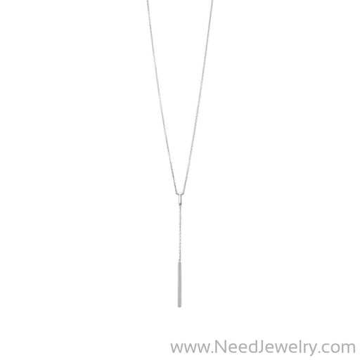 Rhodium Plated Bar Drop Necklace-Necklaces-Needjewelry.com