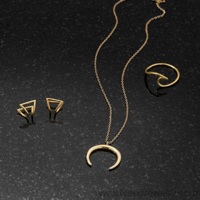 14 Karat Gold Plated Crescent Necklace-Necklaces-Needjewelry.com