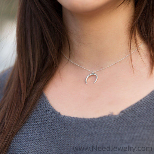Sterling Silver Crescent Necklace-Necklaces-Needjewelry.com