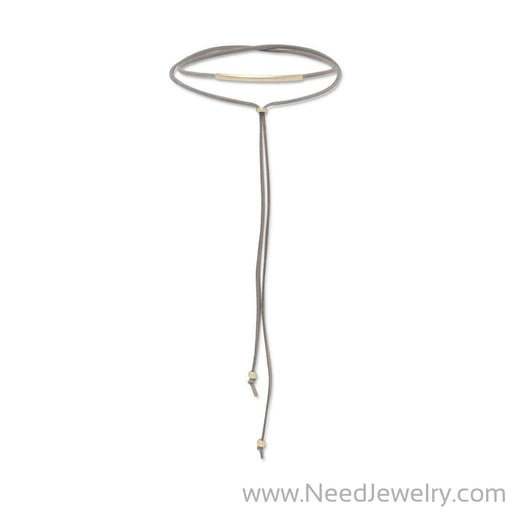 Grey Suede 14 Karat Gold Plated Bar Lariat Choker-Necklaces-Needjewelry.com
