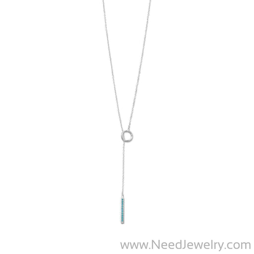 Rhodium Plated Nano Turquoise CZ Drop Lariat Necklace-Necklaces-Needjewelry.com