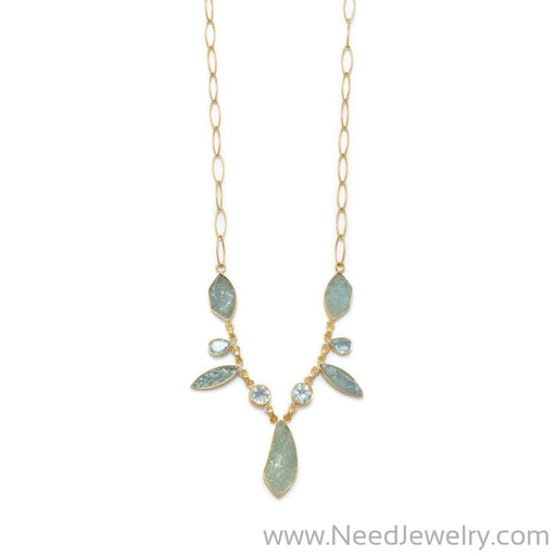 14 Karat Gold Plated Aquamarine and Blue Topaz Necklace-Necklaces-Needjewelry.com