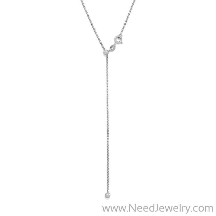 Rhodium Plated Adjustable Box Chain and Ball Necklace-Necklaces-Needjewelry.com