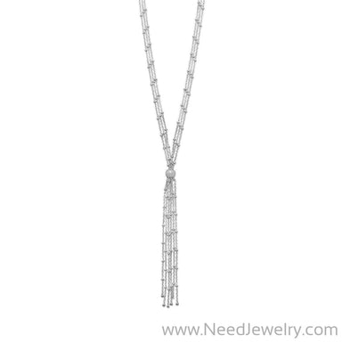 Rhodium Plated Satellite Chain Bolo Necklace-Necklaces-Needjewelry.com
