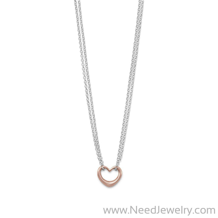 Two Tone Double Strand Open Heart Necklace-Necklaces-Needjewelry.com