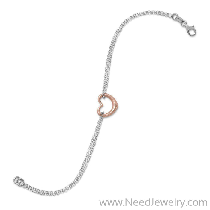 Two Tone Double Strand Open Heart Bracelet-Bracelets-Needjewelry.com