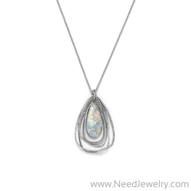 Ancient Roman Glass Two Part Pear Drop Pendant Necklace-Necklaces-Needjewelry.com