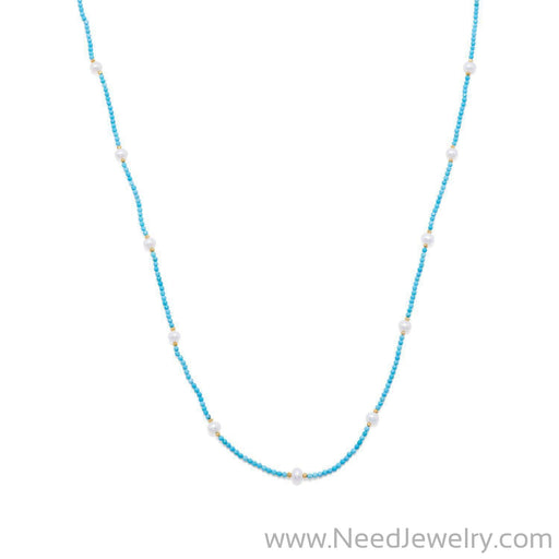 Endless Design Turquoise Magnesite and Cultured Freshwater Pearl Necklace-Necklaces-Needjewelry.com