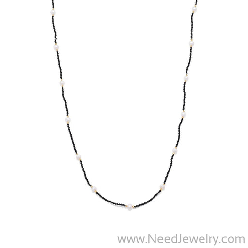 Endless Design Spinel and Cultured Freshwater Pearl Necklace-Necklaces-Needjewelry.com