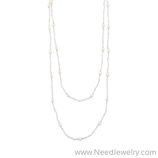 Endless Design Pyrite and Cultured Freshwater Pearl Necklace-Necklaces-Needjewelry.com