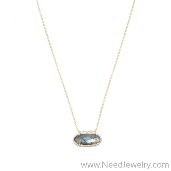 14/20 Gold Filled Labradorite Ellipse and CZ Edge Slide Necklace-Necklaces-Needjewelry.com