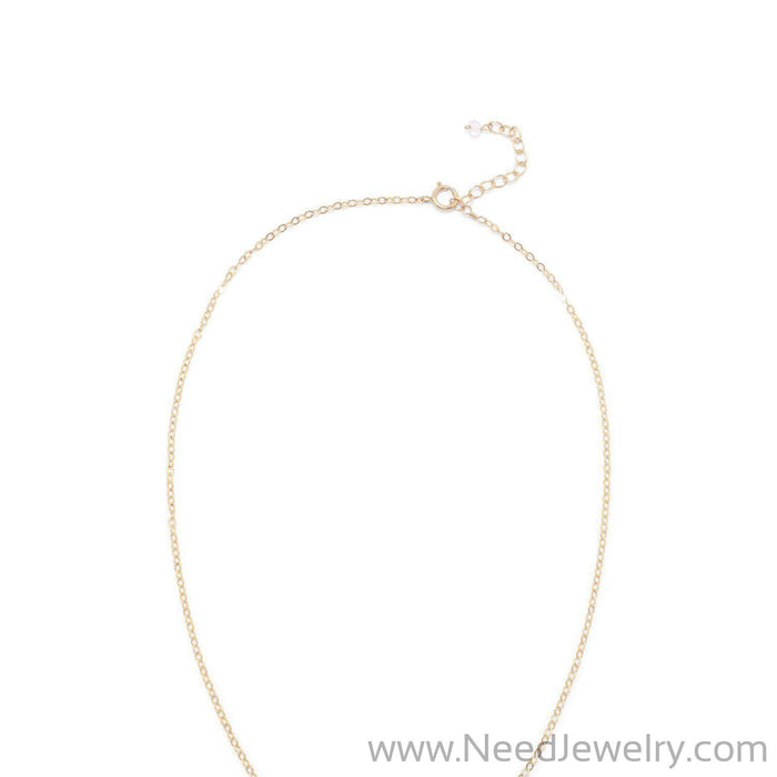 14/20 Gold Filled Rainbow Moonstone Ellipse with CZ Edge Slide Necklace-Necklaces-Needjewelry.com