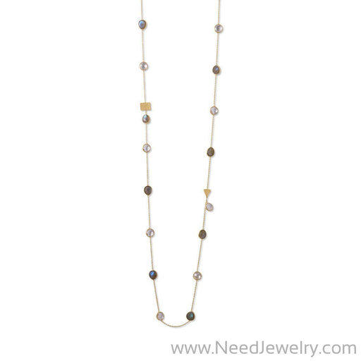 14 Karat Gold Plated Labradorite and Clear Quartz Endless Necklace-Necklaces-Needjewelry.com