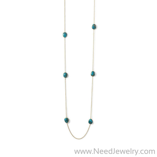 14 Karat Gold Plated Turquoise Stone Endless Necklace-Necklaces-Needjewelry.com