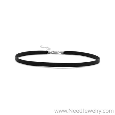 Black Leather Choker-Necklaces-Needjewelry.com