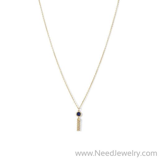 14 Karat Gold Plated Mini Lapis and Tassel Necklace-Necklaces-Needjewelry.com