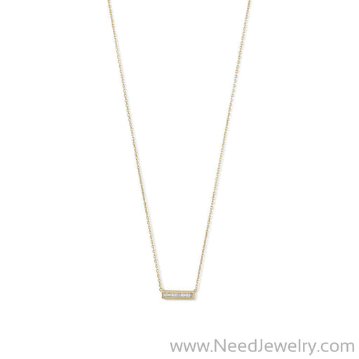 14 Karat Gold Plated Mini CZ Bar Necklace-Necklaces-Needjewelry.com