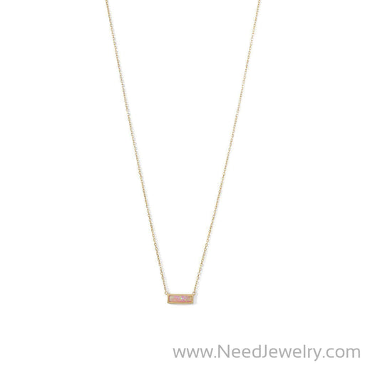 14 Karat Gold Plated Mini Synthetic Pink Opal Bar Necklace-Necklaces-Needjewelry.com