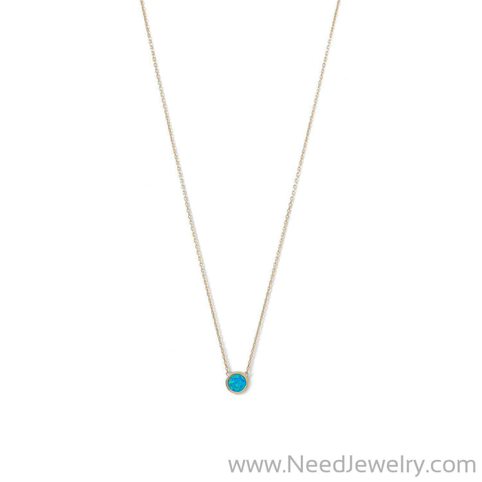 14 Karat Gold Plated Mini Synthetic Blue Opal Necklace-Necklaces-Needjewelry.com