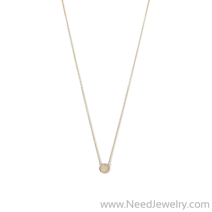 14 Karat Gold Plated Mini Synthetic White Opal Necklace-Necklaces-Needjewelry.com