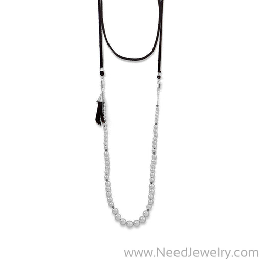 4-Way Suede and Silver Bead Necklace-Necklaces-Needjewelry.com