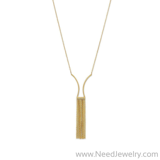 14 Karat Gold Plated Geometric and Fringe Drop Necklace-Necklaces-Needjewelry.com