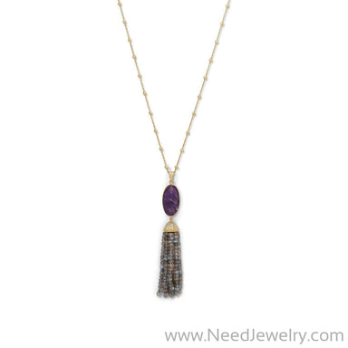 14 Karat Gold Plated Amethyst and Labradorite Tassel Necklace-Necklaces-Needjewelry.com