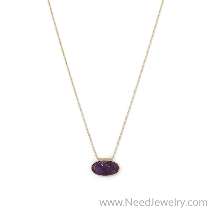 14 Karat Gold Plated Rough Cut Amethyst Slide Necklace-Necklaces-Needjewelry.com
