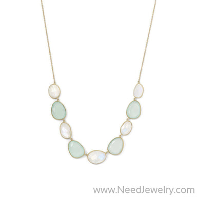 14 Karat Gold Plated Rainbow Moonstone and Green Chalcedony Necklace-Necklaces-Needjewelry.com