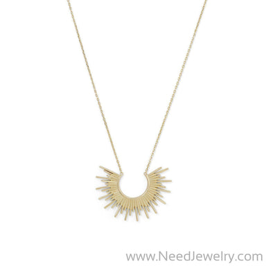 14 Karat Gold Plated Sunburst Necklace-Necklaces-Needjewelry.com