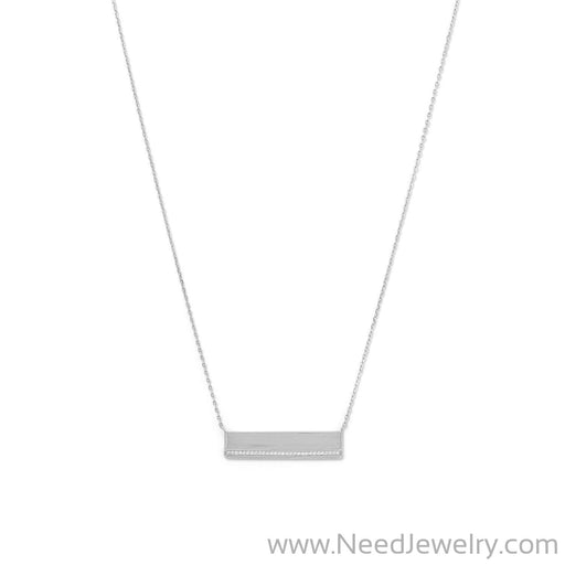 Rhodium Plated CZ Polished Bar Necklace-Necklaces-Needjewelry.com