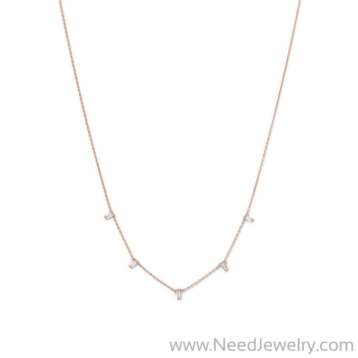 14 Karat Rose Gold Plated Dangling CZ Necklace-Necklaces-Needjewelry.com