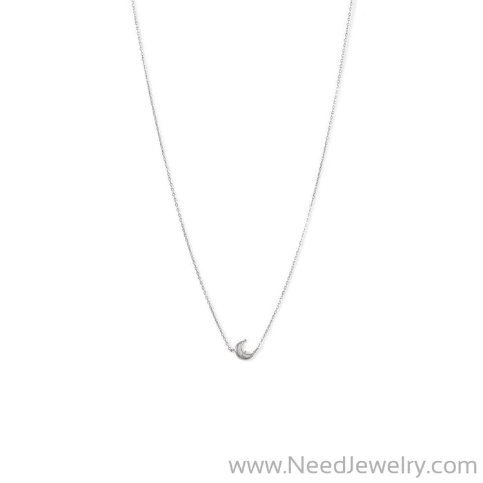 Rhodium Plated Crescent Moon CZ Necklace-Necklaces-Needjewelry.com