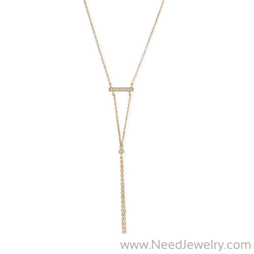 14 Karat Gold Plated Bar Necklace with Y Drop-Necklaces-Needjewelry.com