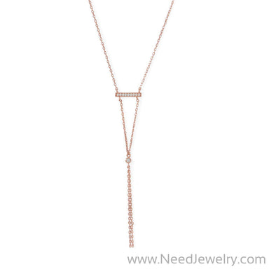 14 Karat Rose Gold Plated Bar Necklace with Y Drop-Necklaces-Needjewelry.com