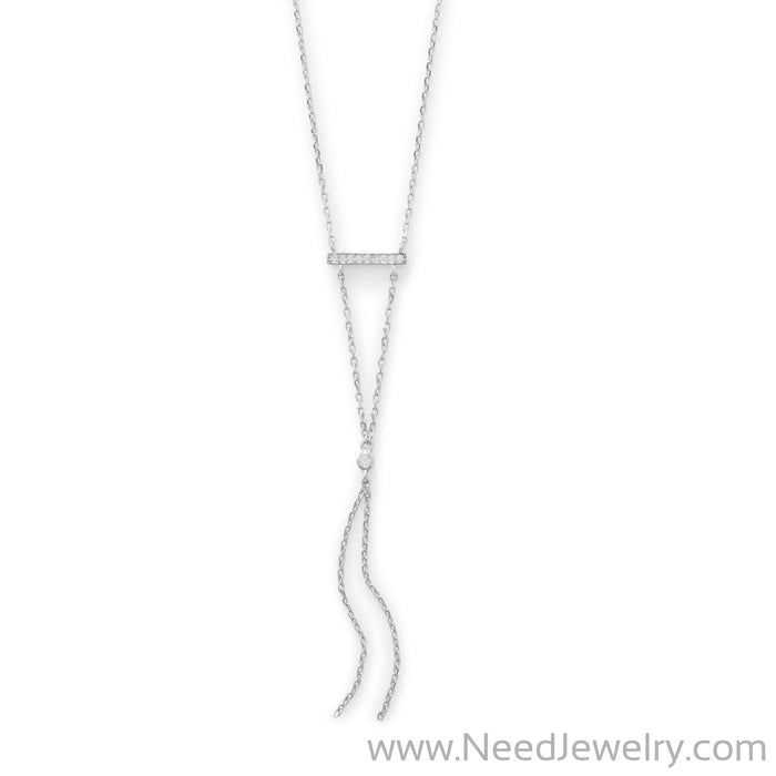 Rhodium Plated Bar Necklace with Y Drop-Necklaces-Needjewelry.com