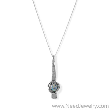 Long Textured Bar Ancient Roman Glass Necklace-Necklaces-Needjewelry.com