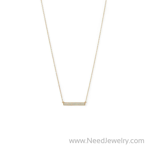14 Karat Gold Plated Synthetic White Opal Bar Necklace-Necklaces-Needjewelry.com
