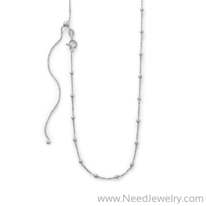 Adjustable Rhodium Plated Satellite Chain-Chain-Needjewelry.com