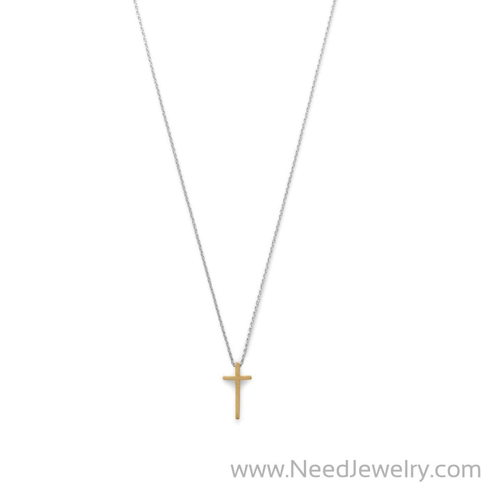 Two Tone Cross Necklace-Necklaces-Needjewelry.com