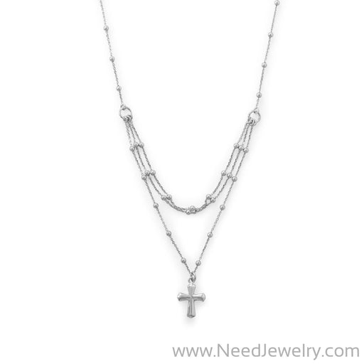 Rhodium Plated Three Row Necklace with Cross-Necklaces-Needjewelry.com