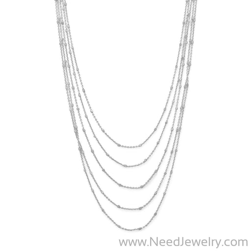 Rhodium Plated Five Strand Satellite Chain Necklace-Necklaces-Needjewelry.com