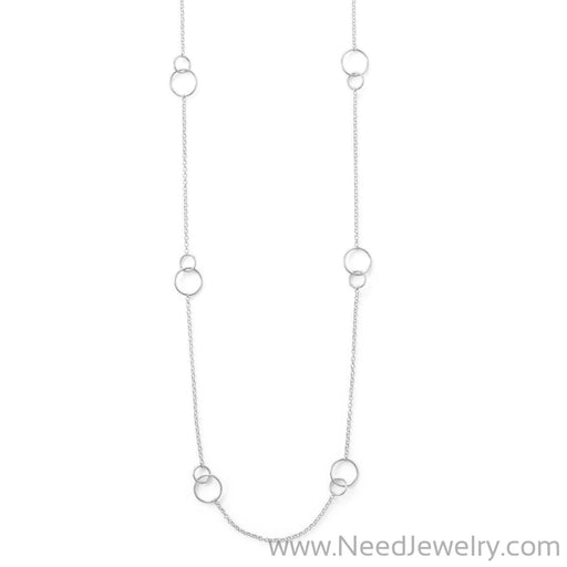 "32"" Rhodium Plated Double Link Circle Necklace-Necklaces-Needjewelry.com"